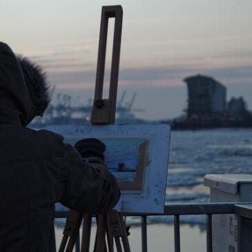 Eisgang im Hamburger Hafen