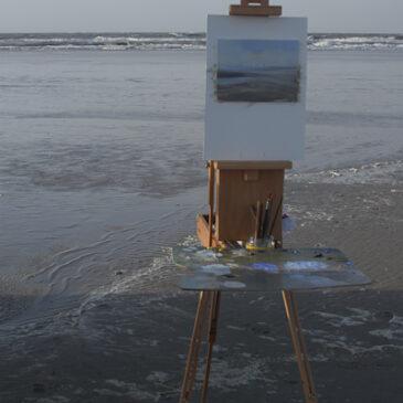 Plein Air Set up für Ölmalerei an der Küste
