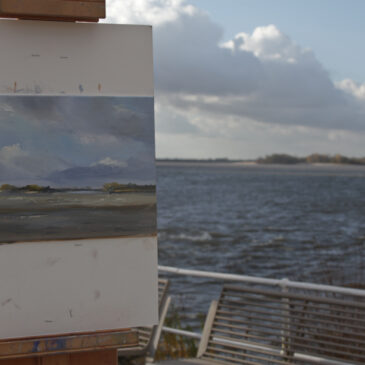 Plein Air : Blankenese – View to the Elbe island Ness -Sand