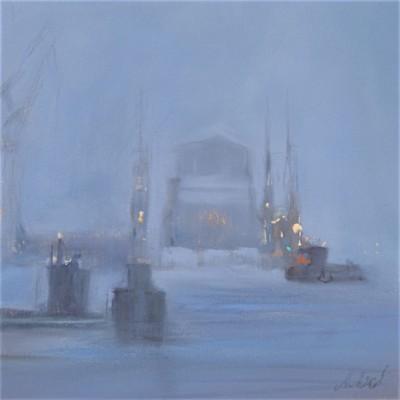 Dock im Schneesturm (Pastell)