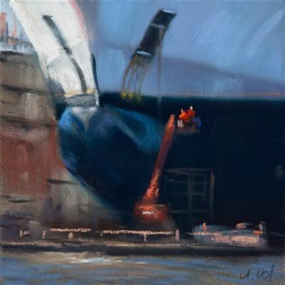 Im Dock (Pastell)