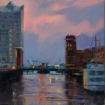 At the Sandtor harbor at sunset (Oil on linen)