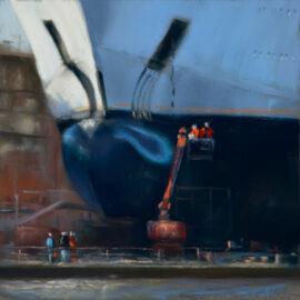 An der Arbeit im Dock (Pastell)