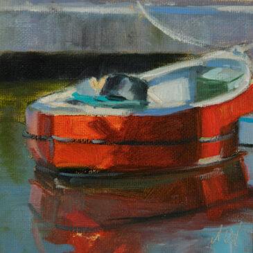 Rotes Boot (13×13) Öl