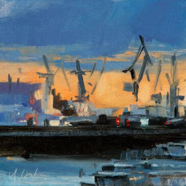 Abends im Hafen (Öl auf Malkarton)