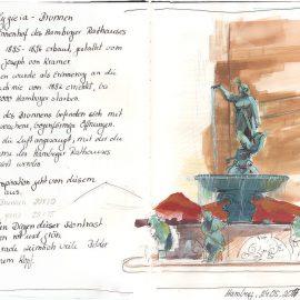 Skizze: Hygieia Brunnen im Innenhof des Hamburger Rathauses